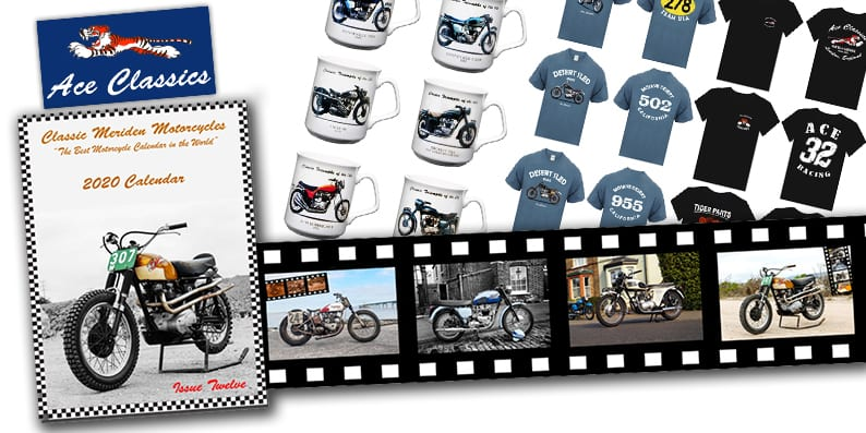 Ace Classics products: mugs, calendars, t-shirts and bike designs.