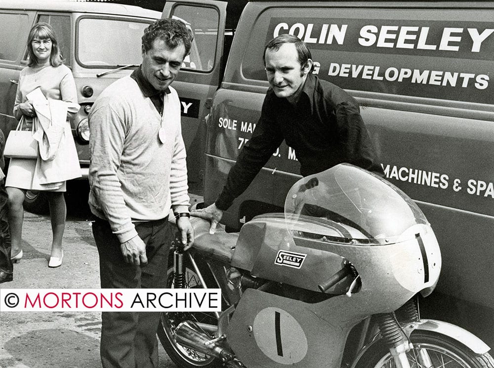 Taken in August 1968, Colin Seeley is pictured with Mike Hailwood. Photo: Mortons Archive.