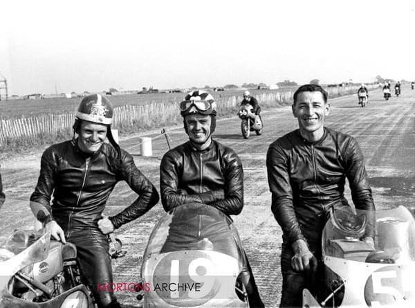Mike Hailwood, Tommy Robb and Jim Adams at Silverstone 22/8/1959.