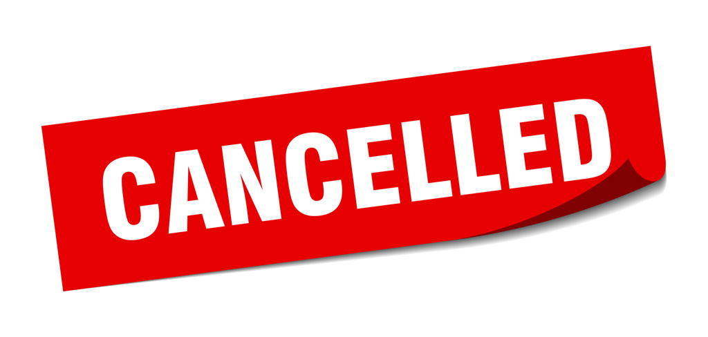 "Image of a sign saying ""cancelled"" in relation to the cancelled Scorton event"